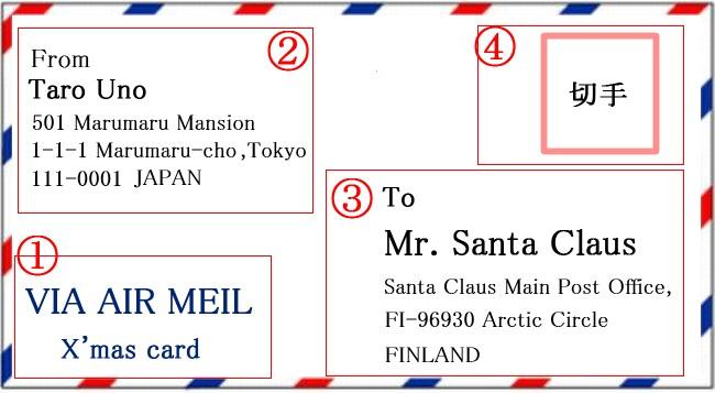 サンタクロース手紙方法フィンランド住所書き方無料